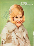 Music Memorabilia:Autographs and Signed Items, Dusty Springfield Signed Large Color Vintage UK Magazine Pin-up(Circa 1965)....