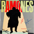 Music Memorabilia:Autographs and Signed Items, Ramones Autographed Pleasant Dreams LP (Sire SRK 3571,1981)....