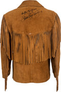 Music Memorabilia:Autographs and Signed Items, Stevie Ray Vaughan Signed Suede Jacket....