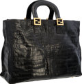 "Luxury Accessories:Bags, Fendi Black Crocodile Tote Bag with Gold Hardware . Very Good Condition . 16"" Width x 10.5"" Height x 6"" Depth . ..."
