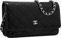 "Luxury Accessories:Accessories, Chanel Black Patent Leather Wallet On Chain Bag with SilverHardware. Excellent Condition . 7.5"" Width x 5"" Height x1..."