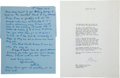 Movie/TV Memorabilia:Autographs and Signed Items, A George Cukor and Gertrude Hartley Set of Correspondence, 1969....