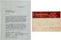 """Movie/TV Memorabilia:Autographs and Signed Items, A George Cukor Signed Termination Agreement from """"Gone With The Wind.""""..."""