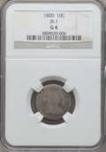 Early Dimes, 1800 10C JR-1, R.4, Good 4 NGC. NGC Census: (1/6). PCGS Population(0/1). Mintage: 21,760. . From The Virginia Cabinet....