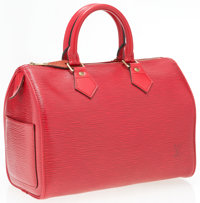 "Louis Vuitton Red Epi Leather Speedy 25 Bag Very Good to Excellent Condition 10"" Width x 8"" Heigh"