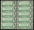 Canadian Currency: , BC-45b-i $1 1967, Fourteen Consecutive Examples. ... (Total: 14 notes)