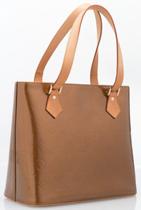 "Louis Vuitton Bronze Monogram Vernis Leather Houston Tote Bag Excellent Condition 12"" Width x 9.7"