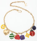 "Luxury Accessories:Accessories, Louis Vuitton Gold & Multicolored Enamel Charm Necklace.Very Good to Excellent Condition. 18"" Length. ..."