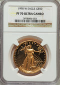 Modern Bullion Coins: , 1990-W $50 One-Ounce Gold Eagle PR70 Ultra Cameo NGC. NGC Census: (839). PCGS Population (291). Numismedia Wsl. Price for ...