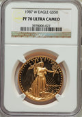 Modern Bullion Coins: , 1987-W G$50 One-Ounce Gold Eagle PR70 Ultra Cameo NGC. NGC Census: (1297). PCGS Population (486). Mintage: 147,498. Numisme...
