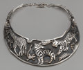 Silver & Vertu:Hollowware, AN EMILIA CASTILLO SILVER JUNGLE NECKLACE, Taxco, Mexico, designed 1990. Marks: EMILIA CASTILLO, STERLING, 925. 14 inche... (Total: 2 )