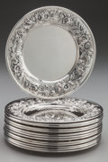 Silver Holloware, American:Plates, A SET OF FOURTEEN KIRK & SON SILVER BREAD AND BUTTER PLATES,Baltimore, Maryland, circa 1868-1890. Marks: S. KIRK & SON,S... (Total: 14 )