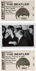 Music Memorabilia:Tickets, Beatles Rare Passes To February 10, 1964 Plaza Hotel ReceptionHosted by Capitol Records....