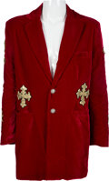 Music Memorabilia:Costumes, Ozzy Osbourne Red Velvet Coat (1998)....