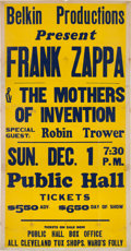Music Memorabilia:Posters, Frank Zappa & The Mothers Of Invention Oversized Concert Poster (1974)....