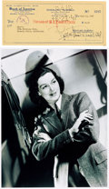 Movie/TV Memorabilia:Autographs and Signed Items, A Rosalind Russell Signed Check....
