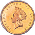 Gold Dollars, 1856-S/S G$1 FS-501 MS64 PCGS Secure. CAC....