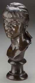 Bronze:American, OLIN LEVI WARNER (American, 1844-1896). Portrait Bust of PeggyCottier, 1890. Bronze with brown patina. 21 inches (53.3 ...