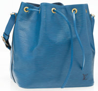 "Louis Vuitton Blue Epi Leather Noe PM Shoulder Bag Very Good Condition 10"" Width x 10"" Height"" x"