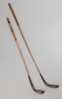 TWO HUGH PHILP LONG NOSE CLUBS, circa 1782-1856 Marks to crown: H. PHILP 44 inches long (111.8 cm) (