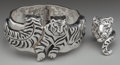 Silver & Vertu:Smalls & Jewelry, AN EMILIA CASTILLO SILVER TIGER CUFF AND RING, Taxco, Mexico, designed 1999. Marks: Emilia Castillo, 925. 2-7/8 inches d... (Total: 3 )