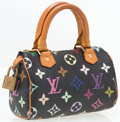 "Luxury Accessories:Bags, Louis Vuitton Black Multicolore Monogram Canvas Mini Speedy Bag.Very Good Condition. 6.5"" Width x 4.5"" Height x 3""De..."