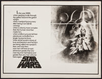 "Star Wars (20th Century Fox, 1977). Advertising Concept Art Sheet (11"" X 14""). Science Fiction"