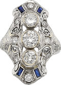 Estate Jewelry:Rings, Art Deco Diamond, Sapphire, White Gold Ring. ...