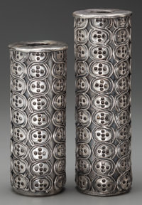 A PAIR ANTONIO PINEDA SILVER WEIGHTED CANDLESTICKS, Taxco, Mexico, circa 1953 Marks: .999 SILVER, NOT SOLID, PI