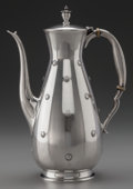Silver Holloware, American:Coffee Pots, A REED & BARTON FAR EAST PATTERN SILVER COFFEE POT,Taunton, Massachusetts, circa 1957. Marks: REED & BARTON,...