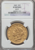 Liberty Double Eagles: , 1869 $20 -- Bent -- NGC Details. XF. NGC Census: (14/306). PCGS Population (23/188). Mintage: 175,155. Numismedia Wsl. Pric...