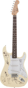 Music Memorabilia:Autographs and Signed Items, Styx Band Signed Fender Squier Bullet Strat Electric Guitar....
