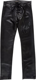 Music Memorabilia:Costumes, Mötley Crüe -- Nikki Sixx Signed Faux Leather Pants Worn in the'Without You' Video (1990)....