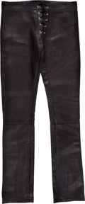 """Music Memorabilia:Costumes, Mötley Crüe -- Tommy Lee Black Leather Pants from the """"Without You"""" Video (1990)...."""