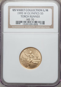1995-W G$5 Olympic/Torch Runner Gold Five Dollar MS70 NGC. Ex: US Vault Collection L/M. NGC Census: (701). PCGS Populati...