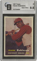 Baseball Cards:Singles (1950-1959), 1957 Topps Frank Robinson #35 GAI Gem Mint 9.5. Robinson came out of nowhere in 1956 to win the Reds' left-field job. Crowd...