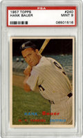 Baseball Cards:Singles (1950-1959), 1957 Topps Hank Bauer #240 PSA Mint 9. The snarl of Yankees' solidslugger Hank Bauer appears on the #240 card we see here ...