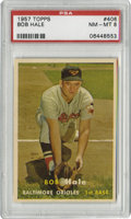 Baseball Cards:Singles (1950-1959), 1957 Topps Bob Hale #406 PSA NM-MT 8. Amazing color retention, gloss and centering allow this impressive Bob Hale card from...
