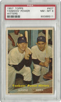 Baseball Cards:Singles (1950-1959), 1957 Topps Mantle/Berra Yankees' Power Hitters #407 PSA NM-MT 8. The final card of the 1957 Topps issue features two player...