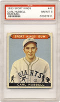 Baseball Cards:Singles (1930-1939), 1933 Goudey Sport Kings Carl Hubbell #42 PSA NM-MT 8. Mr. Hubbelllooks upon you as he looks to crush the opposition in the...