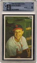 "Baseball Cards:Singles (1950-1959), 1953 Bowman Color Stan Musial #32 GAI Mint 9. An unbelievablychoice example of ""Stan the Man's"" 1953 Bowman issue in Globa..."