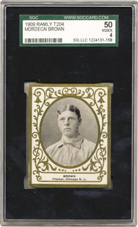 1909 T204 Ramly Mordecai Brown SGC 50 VG/EX 4. Among the more recognizable tobacco issues of its time, the T204 cards, d...