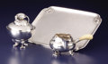 Silver Holloware, Continental:Holloware, A Danish Silver Sugar Bowl, Creamer and Tray. Georg JensenSilversmithy, Copenhagen, Denmark. Designed 1919. Silver, ivory...(Total: 3 Items)