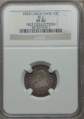 Bust Dimes, 1828 10C Large Date, JR-2, R.3, XF40 NGC. Ex: Hilt Collection. NGCCensus: (5/18). PCGS Population (0/1). Mintage: 125,000....