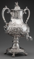 Silver Holloware, British:Holloware, A JOSEPH RIDGE & CO. SILVER-PLATED HOT WATER URN, Sheffield,England, circa 1885. Marks: JR & S, (crown), EOF,WARRANT...