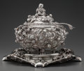 Silver Holloware, Continental:Holloware, AN ITALIAN SILVER COVERED TUREEN WITH UNDER PLATE AND LADLE, Milan,Italy, circa 1930. Marks: 800, (945-MI). 14-1/2 inch...(Total: 3 Items)