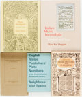Books:Music & Sheet Music, [Music Printing.] Group of Five Books Related to Music Printing andPublishing. Various publishers and dates. ... (Total: 5 Items)