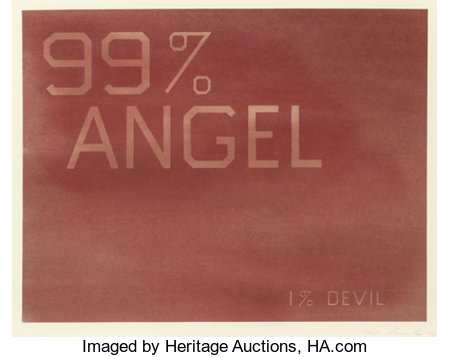 ED RUSCHA (American, b. 1937) 99% Angel, 1% Devil, 1983 Dry pigment on paper 21 x 27-1/4 inches (53.3 x 69.2 cm) Sig...