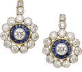 Estate Jewelry:Earrings, Diamond, Sapphire, Platinum, Gold Earrings. ...