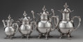 Silver Holloware, American:Tea Sets, A FOUR PIECE WOOD & HUGHES COIN SILVER MEDALLION TEA AND COFFEE SERVICE, New York, New York, circa 1850. Marks: W & H, 900... (Total: 5 Items)
